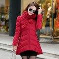 Mulheres Jaquetas E Casacos de inverno 2016 Novo Casaco de Inverno Mulheres Parka Feminino Coreano Cachecol Vestido Casaco Longo De Espessura
