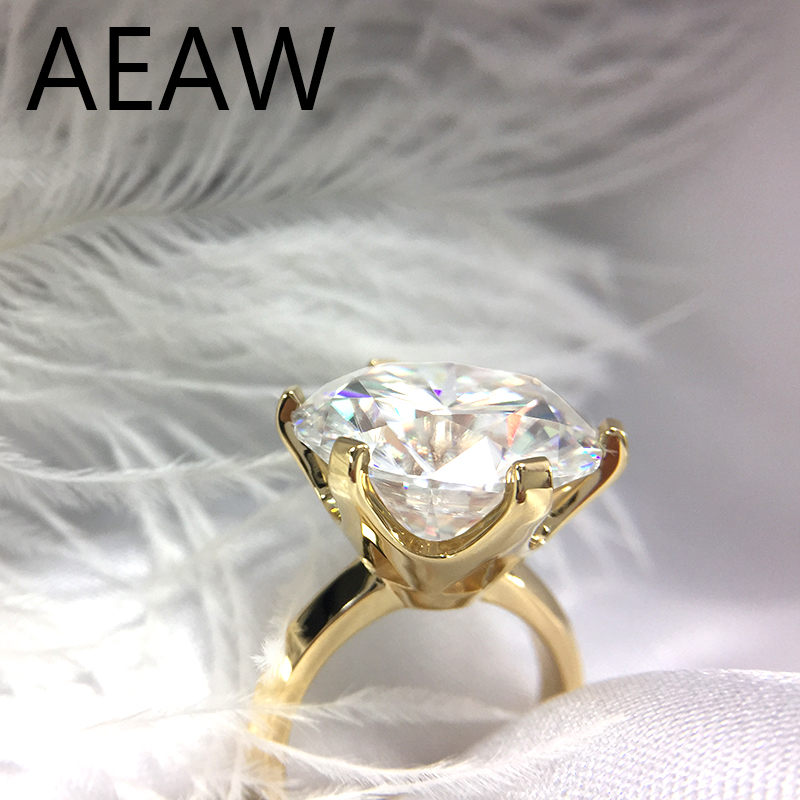 Center 15mm 10ct Carats Moissanite Engagement Ring for Women Wedding Solid Genuine 14K Yellow Gold Ladies RingCenter 15mm 10ct Carats Moissanite Engagement Ring for Women Wedding Solid Genuine 14K Yellow Gold Ladies Ring