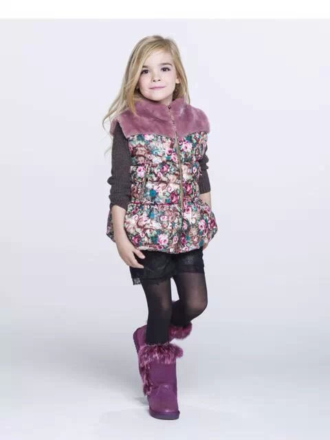 Autumn Winter Baby Girls Fashion Winter Floral Vest Girls Warm Thick Waistcoat Girls Winter Outerwear Jacket Coat цена 2017