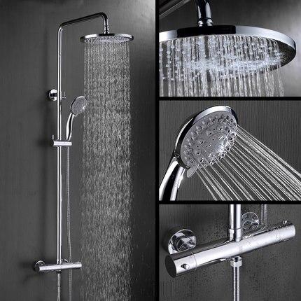Injeção de Ar do banheiro Acabamento Cromado 8 polegada Wall Mounted Termostática Chuva Chuveiro com ABS Rodada Chuveiro Chuveiro de Mão