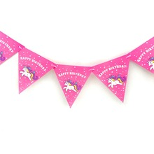 1pc/set Kids Birthday Unicorn Party Supplies For decoration Flag Banners CartoonEvent