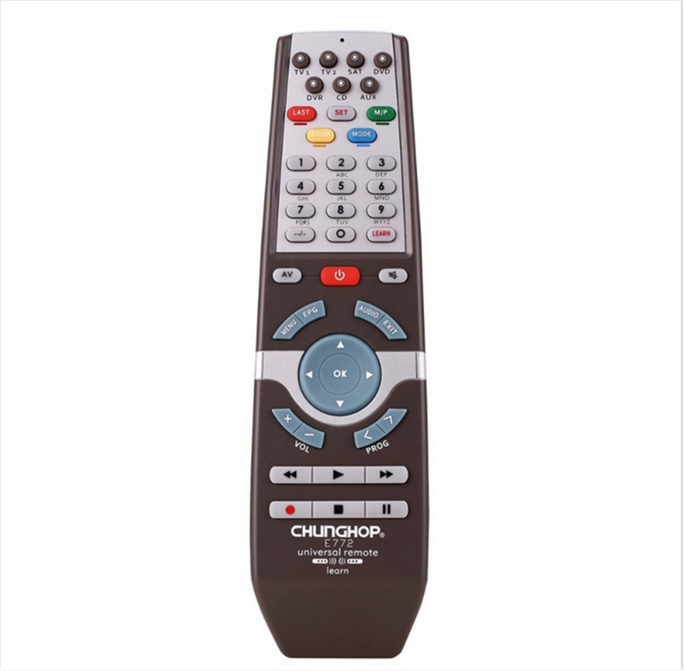 1PCS Chunghop E772 2AAA Combinational remote control learn remote for TV SAT DVD CBL DVB-T AUX universal remote CE 3d Smart TV 1pcs chunghop rm l987e tv sat dvd cbl cd ac vcr smart tv 3d universal remote control learning equipment with lcd display