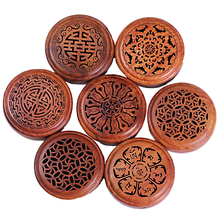 Incense Box Wooden Pear Sandalwood Plate Seven Round Flower Pomander Crafts Mahogany Hollow