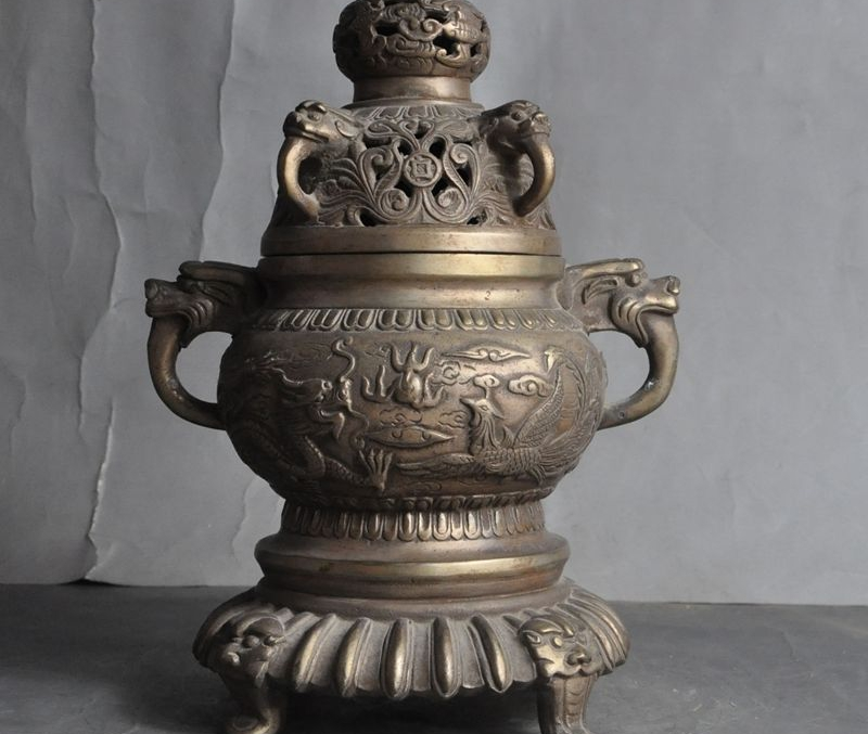 Marked Old Chinese Silver Dragon Phoenix Play Bead Statue Incense Burner Censer