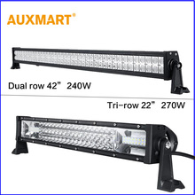 Auxmart 42″ 22″ Dual/Tri Row LED Light Bar Cree Chips offroad combo beam bar light truck trailer 4X4 4WD ATV SUV UTV RZV 12v 24v
