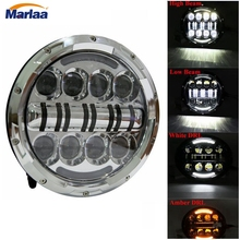 For Harley Davidson Motorcycle LED Headlight 7 Inch 80W Headlight High Low Beam Projector Headlamp Bulb Daymaker