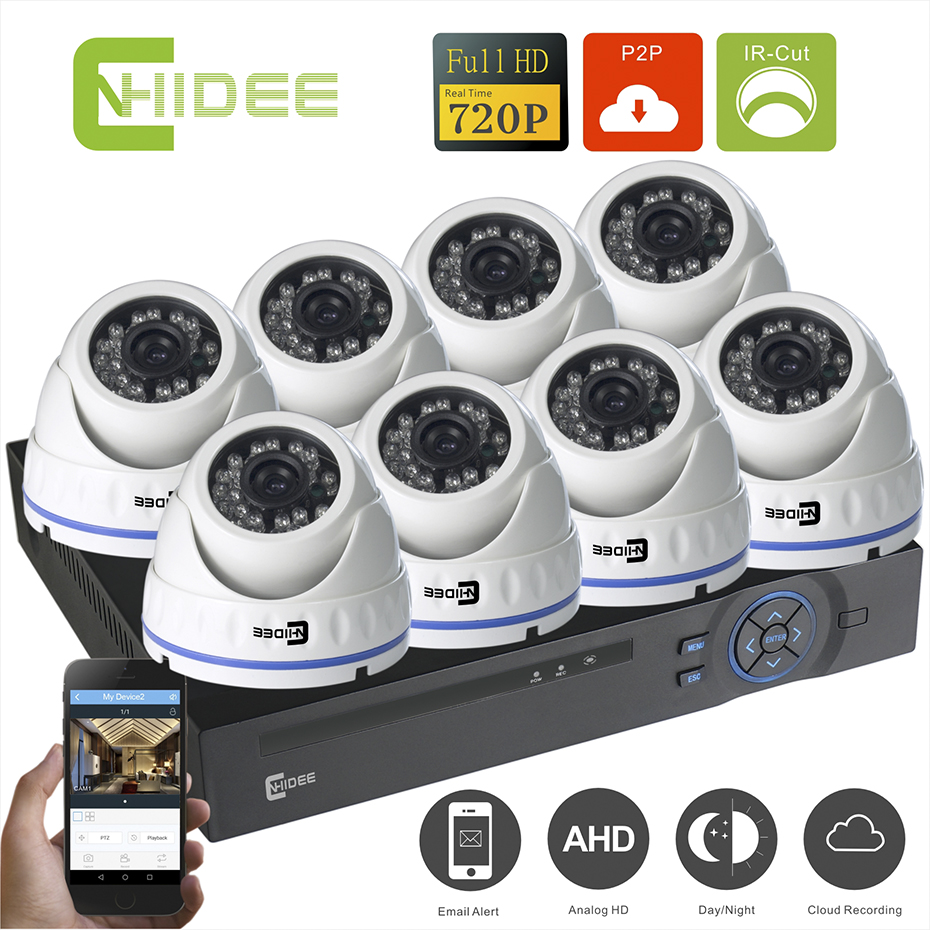 CNHIDEE Home 1.0MP Outdoor CCTV Security Camera System 8 Channel AHD 720P 960H DVR Video Surveillance System Camera Kit HDMI .  cnhidee home security camera system nightvision ahd 8ch 720p ir 1200tvl dvr hd kit video surveillance system 8ch outdoor kit set