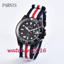 Casual 40mm Parnis black dial date adjust sapphire glass black PVD case Automatic movement GMT Men's Watch