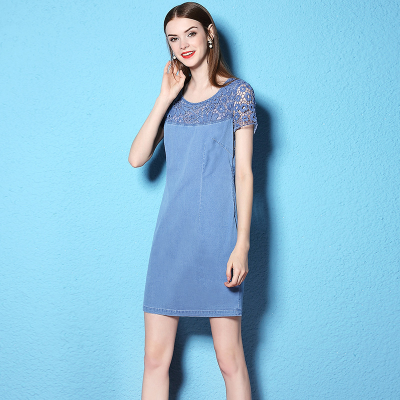 Summer and Autumn New stylish plus size denim thin dress short sleeve women s fashion dress
