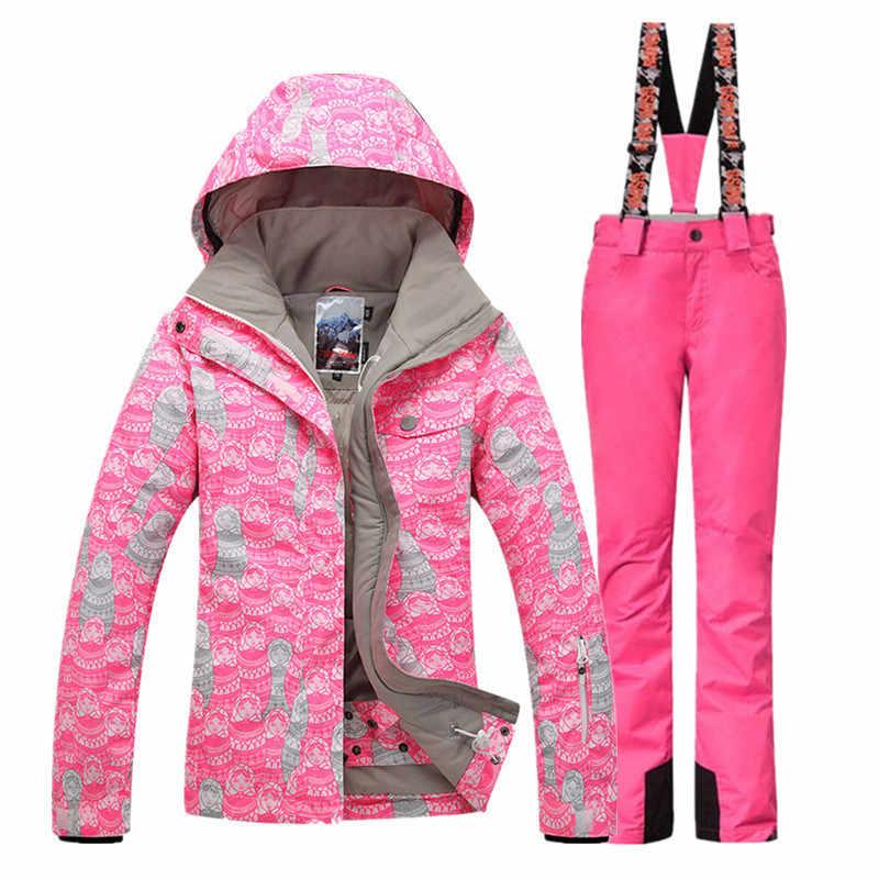 Женщины Лыжный Костюмы Куртки + Брюки Теплая Зима Водонепроницаемый Лыжи Сноуборд Комплект Одежды лыжная куртка и брюки