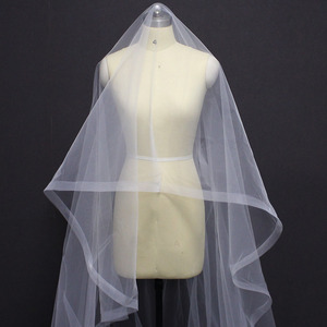 Image 5 - Long Horsehair Edge 3 Meters Wedding Veil WITHOUT Comb One Layer Cover Face Bridal Veil Velo de Novia