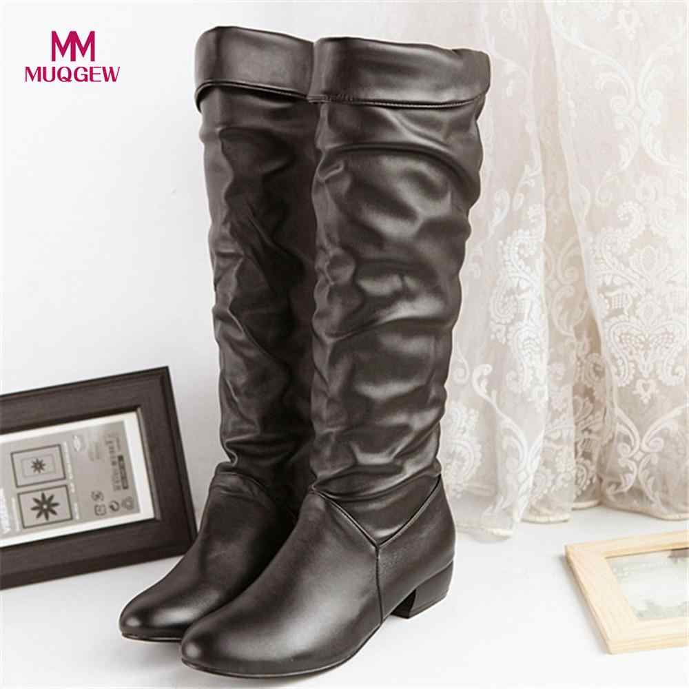 2018 Fashion Shoes Women's Knee-High Boots Winter Knee High Boots High Tube Flat Heels Riding Boots Outside Winter Shoes