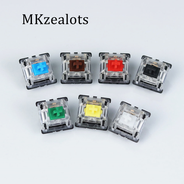 Gateron mx switch 3 pin and 5 pin transparent case mx green brown blue switches for mechanical keyboard cherry mx compatible