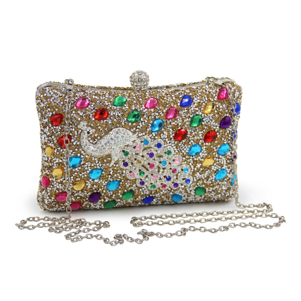 Famous Brand Women Wedding Clutch Lady Luxury Peacock Diamond Crystal Day Clutches Evening Party Chain Box Bag Golded Silver luxury knitting cheongsam clutch bag oval plaid evening bag famous brand day clutch chain shoulder messenger bag party purses