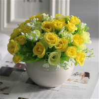 Mini Ceramic Potted Artificial Flowers craft Artificial yellow rose flower fake Green Plant for home Wedding Decora gift Bouquet