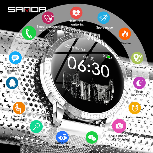 SANDA Luxury Smart Watch Women Waterproof Heart Rate Monitor Blood Pressure Fitness Tracker Men Women Smartwatch For IOS Android