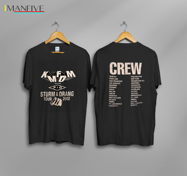 KMFDM PIG Crew Tour T Shirt RARE 2002 Vintage Reprint Men Cotton T Shirt Printed T Shirt Top Tee Men Summer Short Sleeves in T Shirts from Men 39 s Clothing