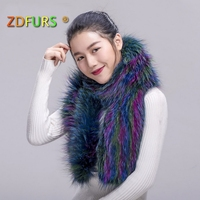 ZDFURS* 2018 New Real Fox Fur Scarf Color Fox Fur Wraps Women Winter Fur Rings Fashion Style Lady Capes Long Style