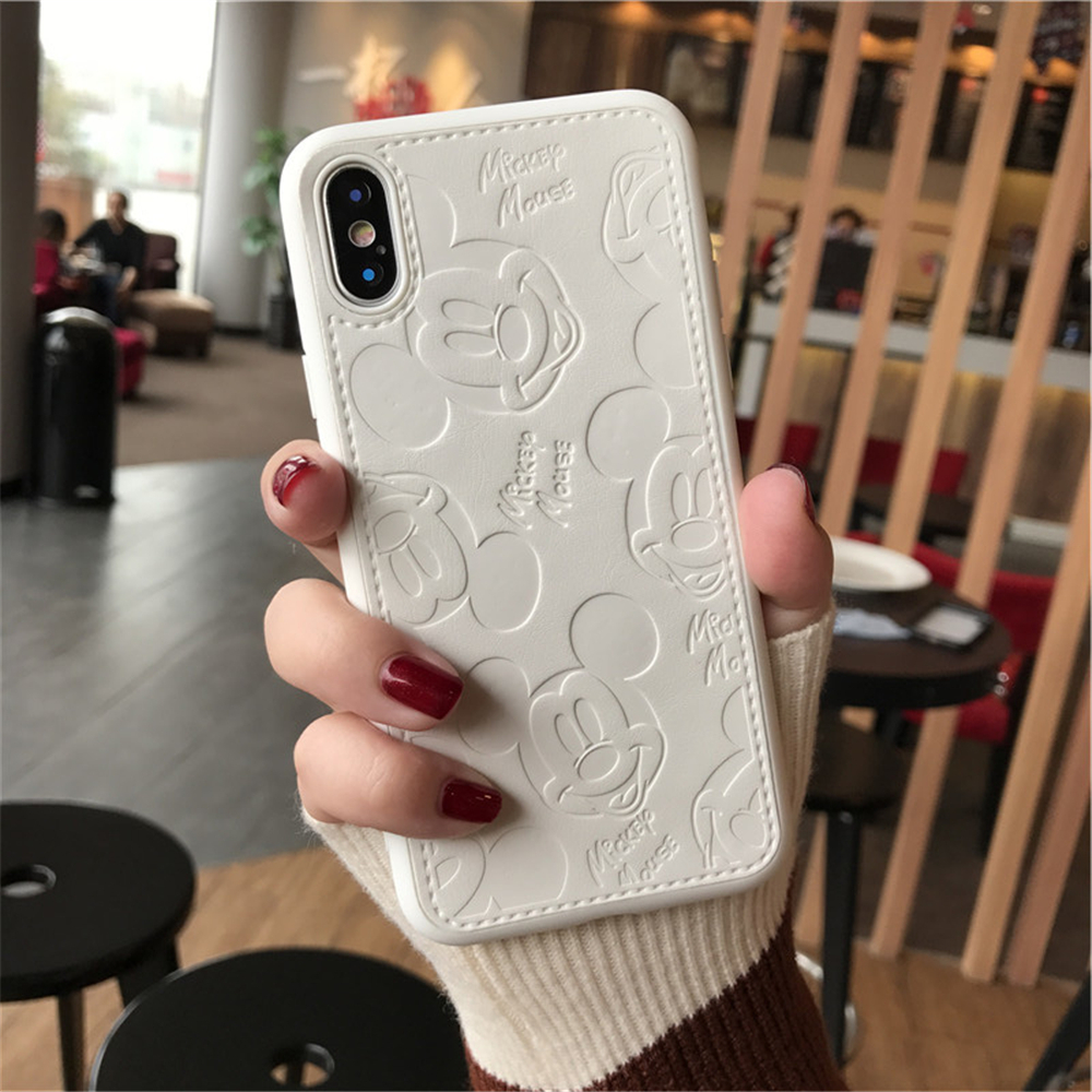 Hot Popular Leather Phone Case For IPhone 7 8 6 6s Plus Mickey Minnie Mouse Cartoon PU Soft Cover for IPhone X Xs MAX XR Funda iPhone