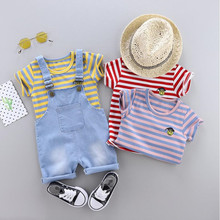 AJLONGER 2Pcs/Set Summer Baby Boys Clothing Sets Children Gentleman Kids Lovely Cartoon t-shirt+pants Infant Casual Suits
