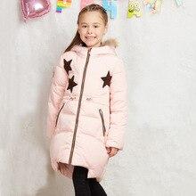 Новый 2016 Зимняя Куртка Девушки вниз пальто ребенок вниз куртки утка вниз долго дизайн цветок пальто детей и пиджаки пальто