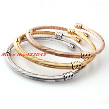 Fashion 3pc/set Silver Gold Rose Gold Mix 3mm Twisted Cuff Bangle 316L Stainless Steel Bracelet For Womens Girls Jewelry
