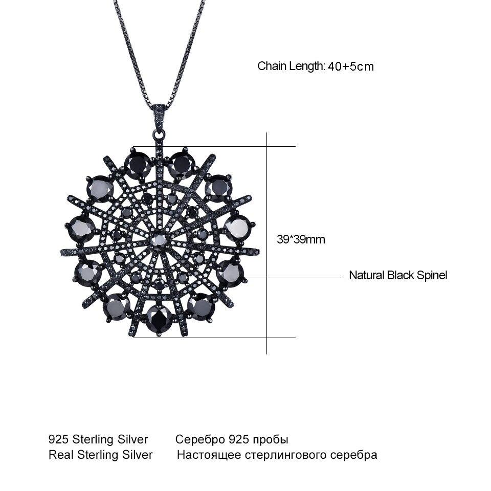 UMCHO Hyperbole Pierres Précieuses Noir Spinelle Collier Pendentifs Solide 925 En Argent Sterling bijoux pour femme Pour Les Femmes Cadeau bijoux fins - 5