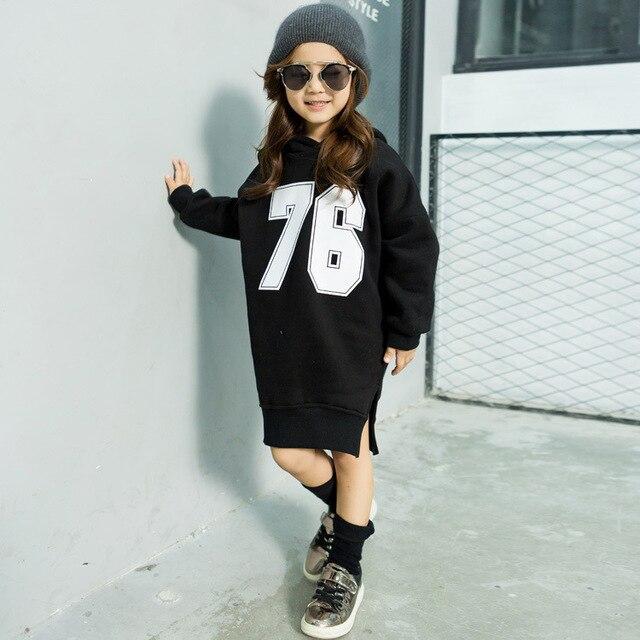 Осенью 2016 новые девушки длинный абзац Свитер Балахон свитер детей буквы Футболка бесплатная доставка