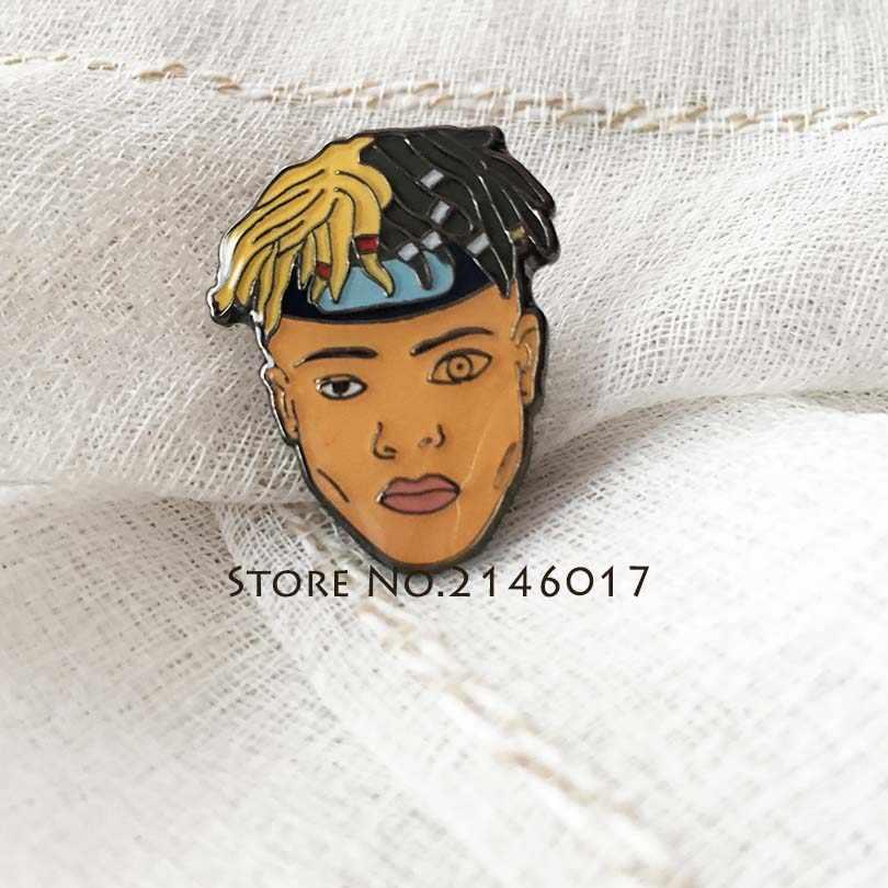 Raper Xxxtentacion Character Musician Lapel Pin Hip-Hop Trency Cool Rap  Cartoon Collar Pins Brooch c26fe9057882