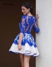 Charming Kurze Abendkleid 2016 Neue Roben De Cocktail Zurück Durchsichtig Halbes Sheer Spitze Royal Blue Kurze Abschlussball kleider