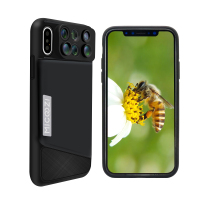 For iPhone X XS Max XR Camera Lens Kit 6 in 1 Fisheye Wide Angle Macro Telescope Lens With Phone Case Cover For iPhone 7 8 Plus