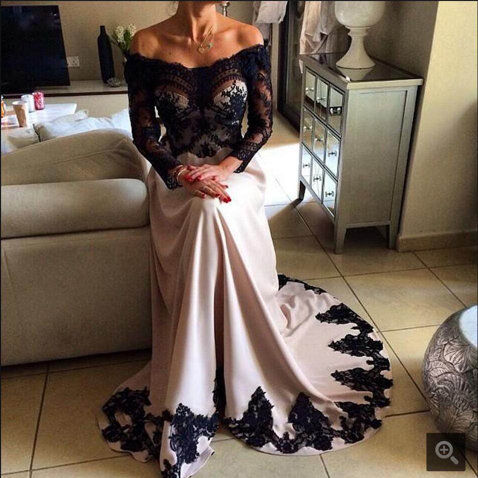 2016 New Design A Line Black Lace Formal Prom Dress Long Sleeve Off The Shoulder Cheap Prom Gowns Hot Sale Prom Dresses