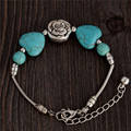 0104 Hot Charm Beads Fashion Jewelry Vintage Hollow Out Handmade Petals Tibetan Silver Turquoise Bracelet Free Shipping
