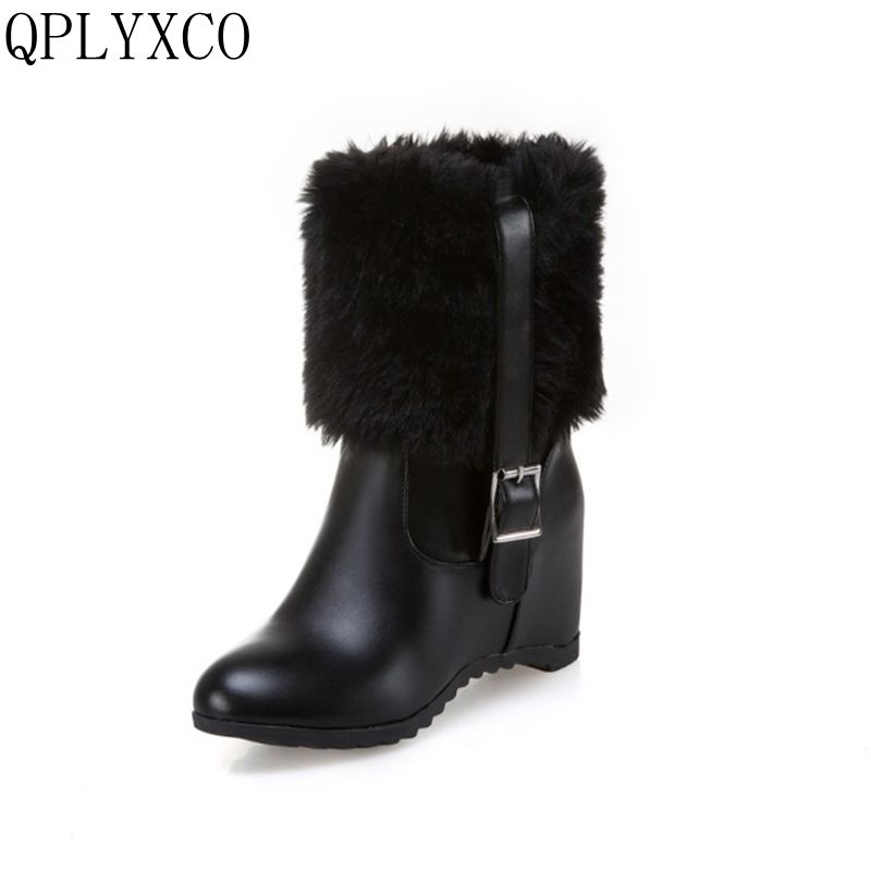QPLYXCO Russia Ankle Boots Warm Fur Winter Shoes Women Snow Boots Round Toe Comfortable Rubber Soles Women Shoes Boots H11 winter women snow boots fashion footwear 2017 solid color female ankle boots for women shoes warm comfortable boots