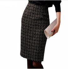 Office Lady Work Skirts 2018 Spring Autumn Ladies Tweed Skirt Black Slim Women sexy Bodycon Wool Pencil Skirt Very good quality