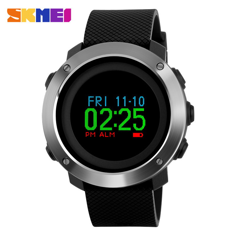 SKMEI Fashion Compass Watch Men Colorful Screen Pedometer Sports Watches Waterproof Outdoor OLED Display Digital Wristwatches outdoor sports watches men skmei brand countdown led men s digital watch altimeter pressure compass thermometer reloj hombre