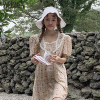 9cec8f9d593d SuperAen Single Breasted Fashion Women Dress Lace Summer New 2019 Girls  Dress Puff Sleeve Print Sweet