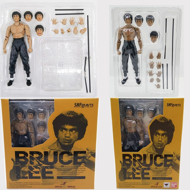 Movie King of Kung Fu Bruce Lee Figure Variant With Nunchaku PVC Action Figures Movable Joints In Box movie kung fu panda 3 po bobble head car toys pvc figures collectible model gift 4 10cm kt1896