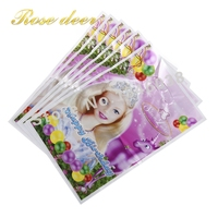 500pcs Lot Beauty Princess Theme Party Gift Bag Party Decoration Plastic Candy Bag Loot Bag For