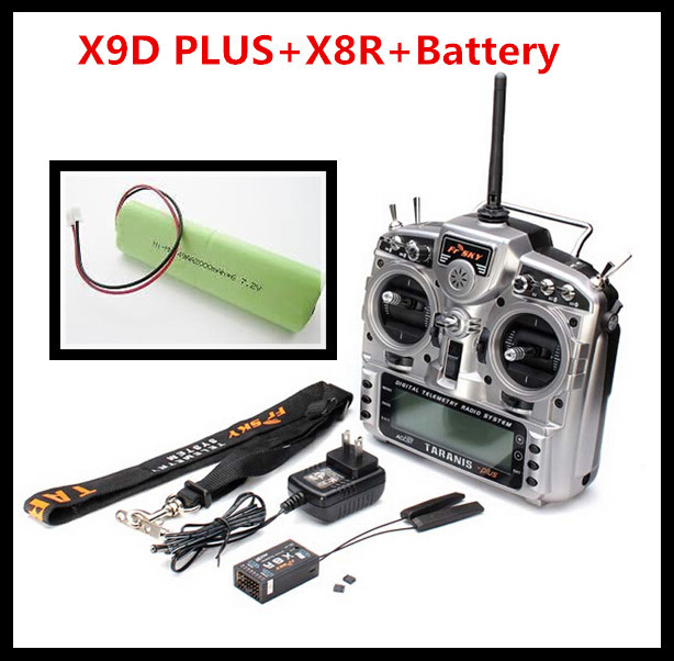 FrSky TARANIS X9D PLUS + receptor X8R + batería de 2.4 GHz Digital Transmisor de Telemetría de Radio Sistema de Correa para el Cuello de Alimentación adaptador