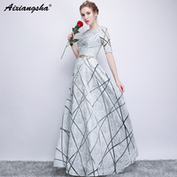 Silver Prom Dresses 2018 Scoop Half Sleeves Golden Sashes Vestido Longo Gala Jurken Red Prom Dress Long Satin Dress Plus Size