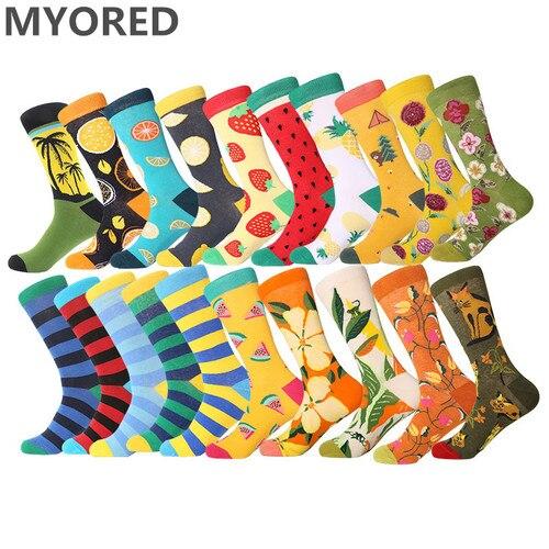 MYORED mens street cacaul crew socks stripes womens mens colorful fruit cartoon animal combed cotton funny wedding gift socks Pakistan