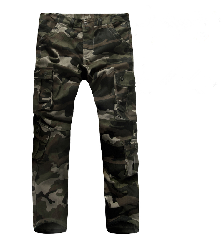 Regular Fit High-End Plus Size Multi-Pockets Overalls Cargo Pants Full-Length Military Camouflage 3 Colors Casual Trousers