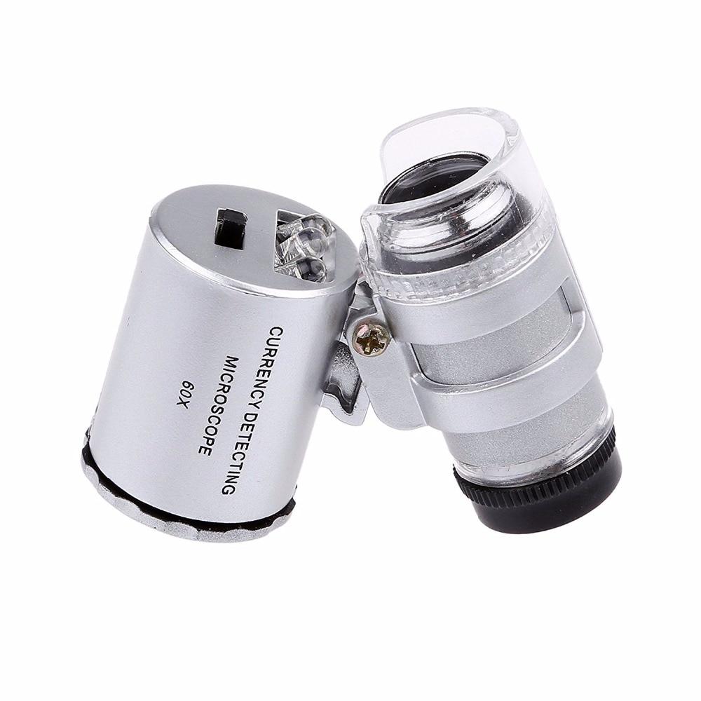 b66490e33ec 5 pçs lote Pega 60x Mini Bolso Lupa Lupa Jóias Relojoeiro 3 Lente de Vidro  Óptico LED Com uma Bolsa de Couro Falso em Ferramentas jóias   Equipamentos  de ...