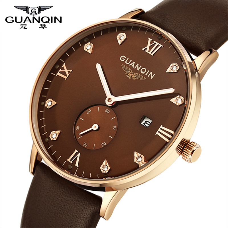 ФОТО Watch Men 2016 Original Brand GUANQIN Leather Strap Back Light Quartz-Watch Waterproof Fashion Sports Watches Relogio Masculino