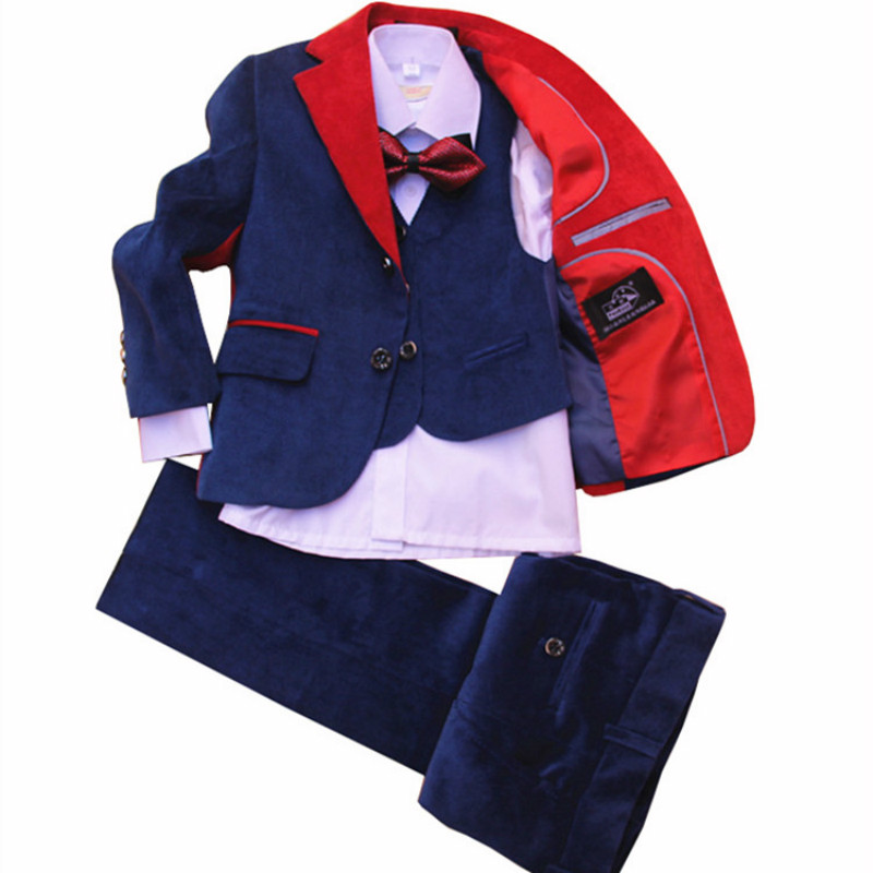 Corduroy blue childrens suit high quality dress jacket wedding boy dress suit 4 piece jacket + vest + pants + bow tieCorduroy blue childrens suit high quality dress jacket wedding boy dress suit 4 piece jacket + vest + pants + bow tie