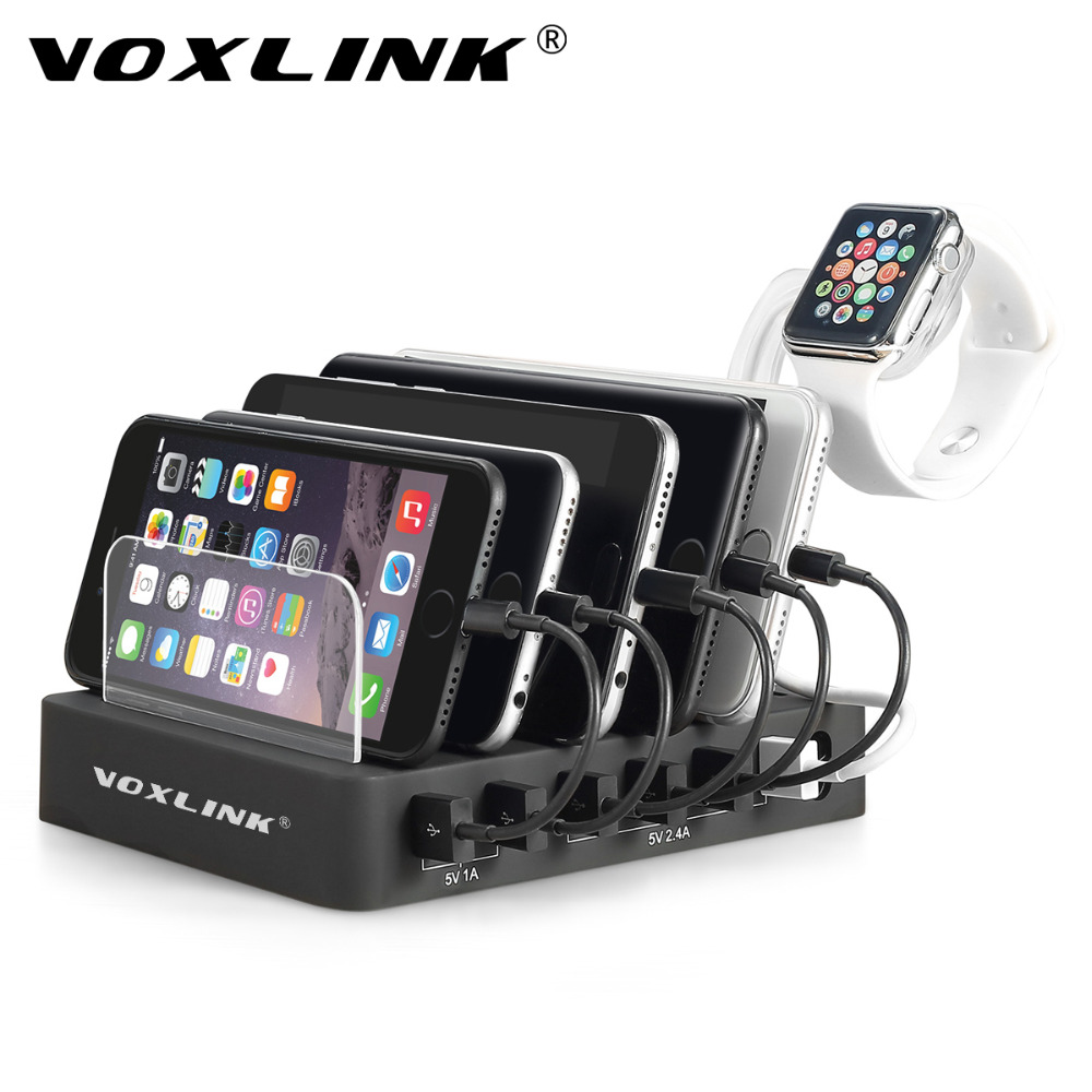 VOXLINK 6-Port USB Charging Station Dock 60W 12A Multiple Desktop USB Charger Hub Fast USB Charging Dock For Smartphone Tablet