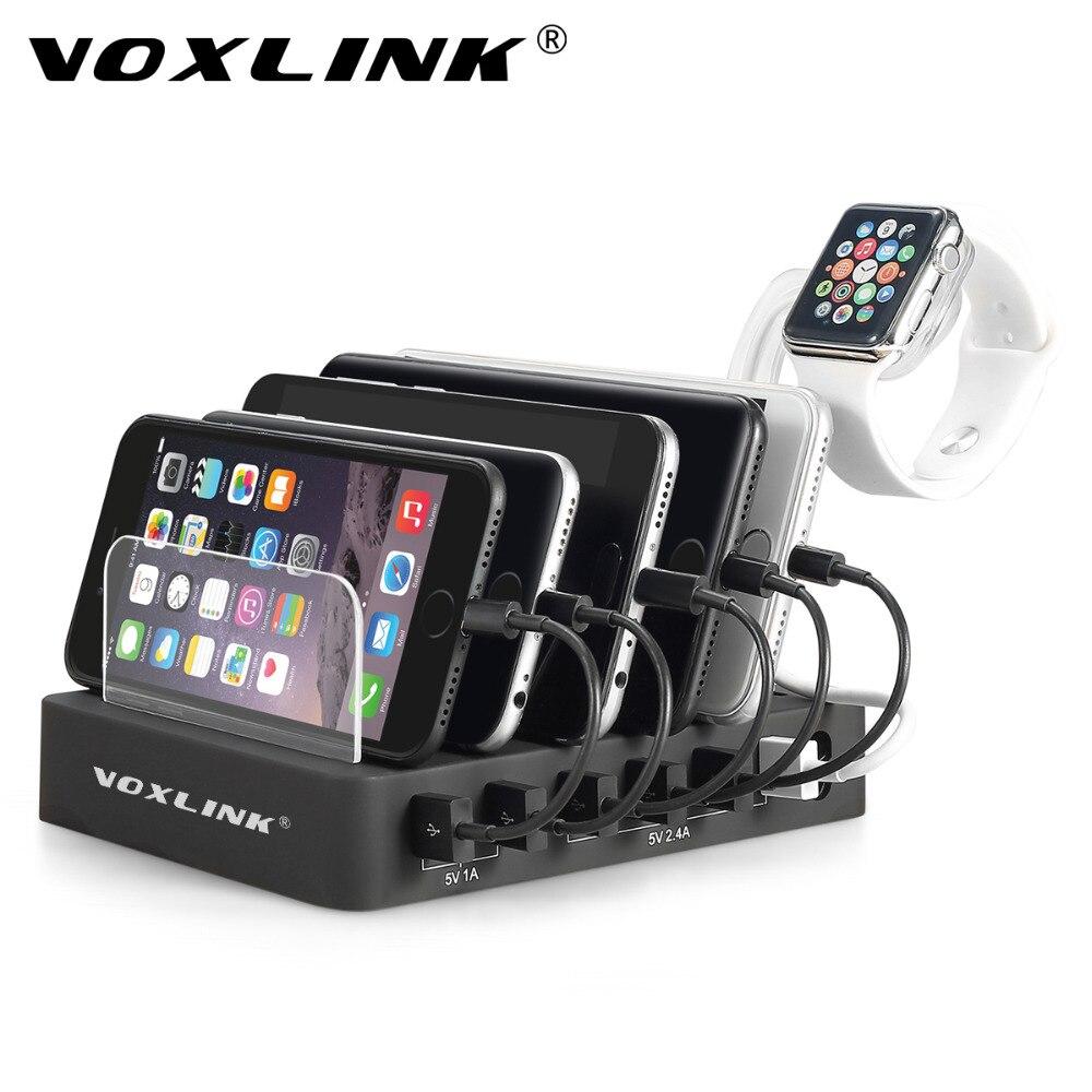 VOXLINK de Carregamento Dock Station 60 W 12A 6-Port USB Múltipla Desktop USB Hub Carregador Rápido USB Doca de Carregamento Para O Smartphone Tablet