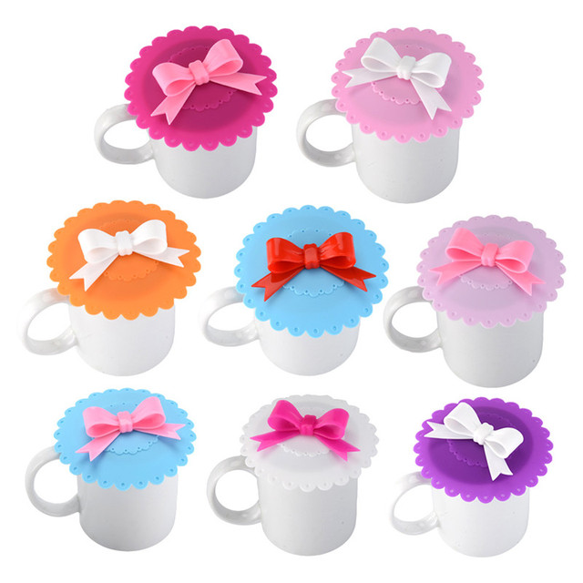 1PC Cute Bow Lace Dustproof Reusable Cup Silicone Lid Thermal Insulation Cup Cover Seal silicone Cover