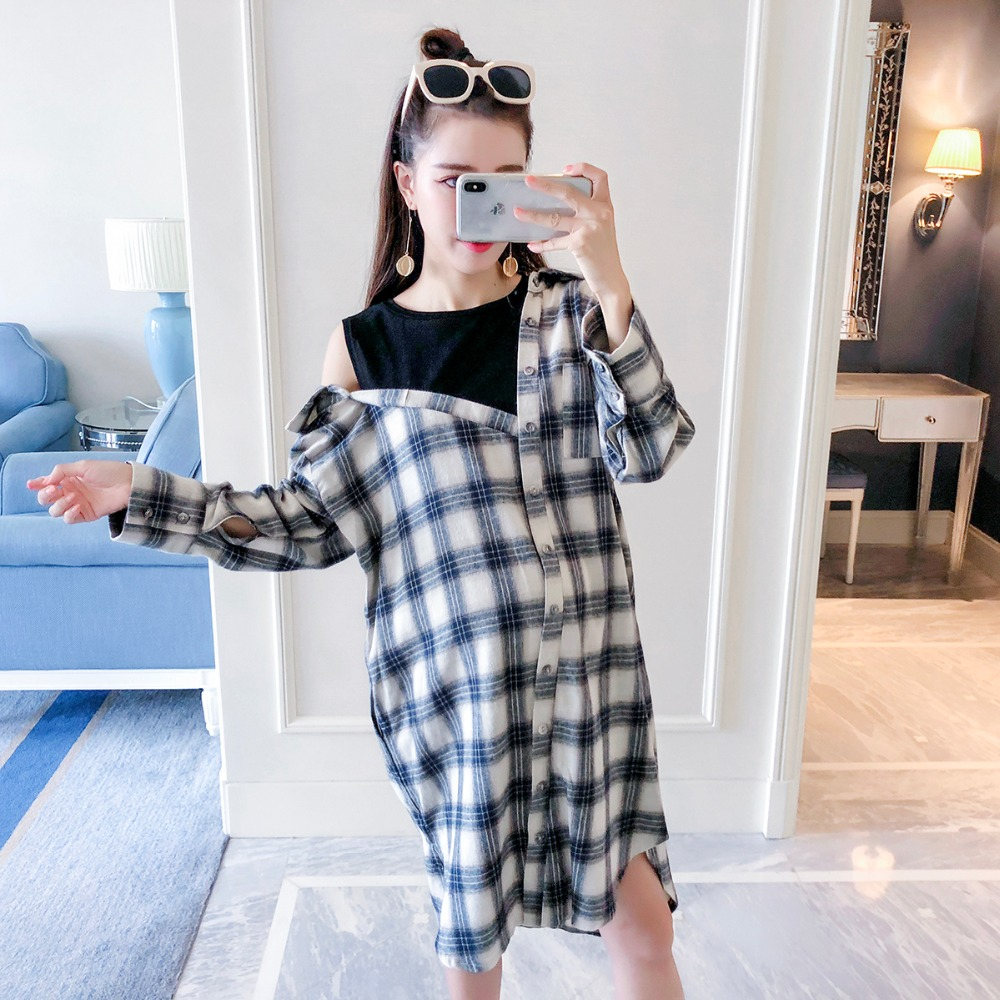 купить Pregnant women autumn dress 2018 new fashion lattice mosaic maternity dress Korean version pregnant women loose shirt skirt по цене 3531.79 рублей